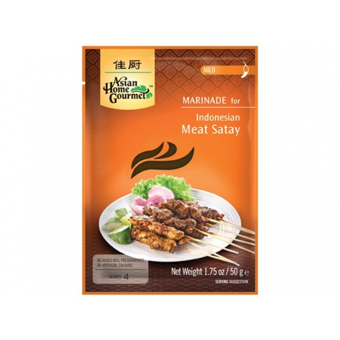 Asian Home Gourmet - Indonesian Satay - Saté Marinade - berühmtes indonesisches BBQ-Gericht - 50 g