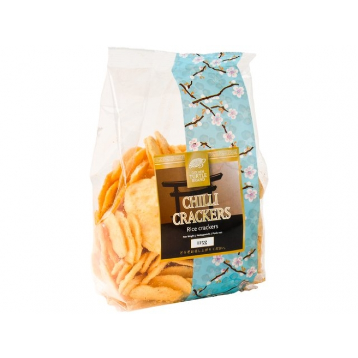 Chilli Crackers - Rice cracker - leicht pikant golden Turtle Brand 115g