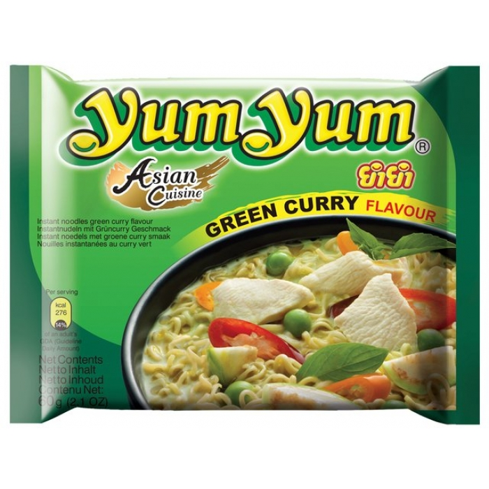 30 x Instant Nudeln mit GREEN CURRY Geschmack - Small - 60g