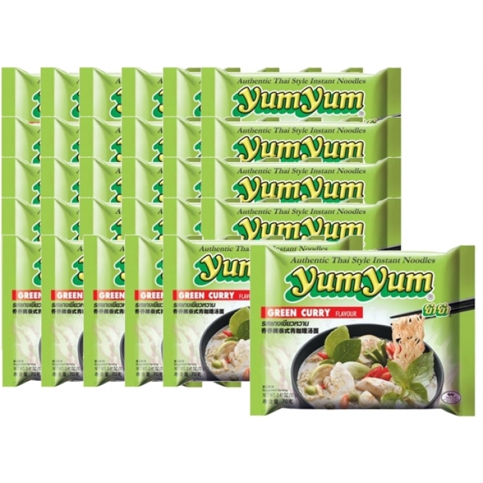 30 x Instant Nudeln mit GREEN CURRY Geschmack - Big - 70g