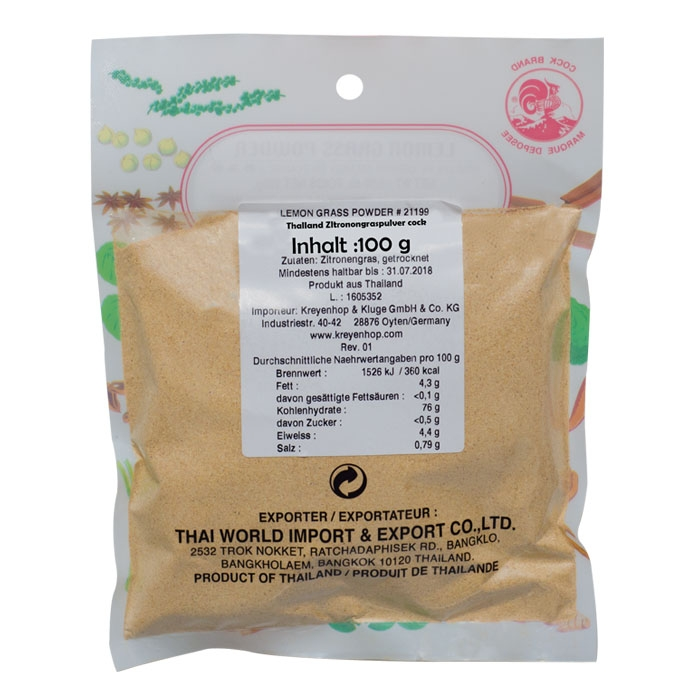 Cockbrand - Lemon grass powder - Zitronengras Pulver - 100g