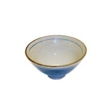 Schüssel / Reisschüssel -- japanisch -- Porzellan -- blau / grüne Punkte -- antik-look -- 13 x 8 cm